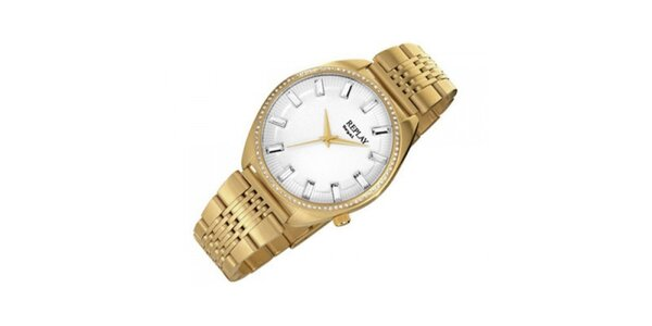 Pánské zlaté hodinky s ocelovým pouzdrem Replay