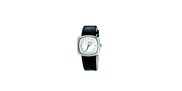 Dámské analogové hodinky s černým páskem a krystaly Replay
