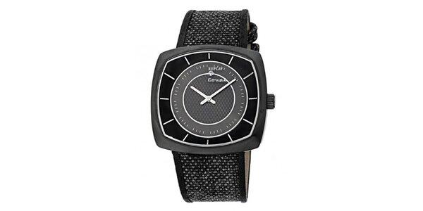 Pánské černo-šedé hranaté hodinky Replay