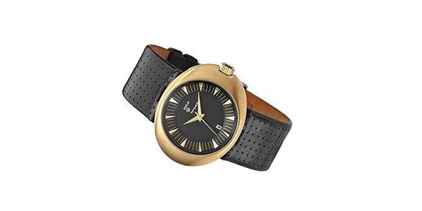 Pánské oválné zlaté hodinky Replay s perforovaným páskem