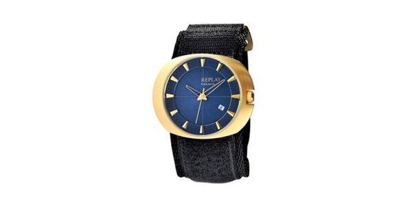 Pánské zlaté oválné hodinky s modrým ciferníkem Replay