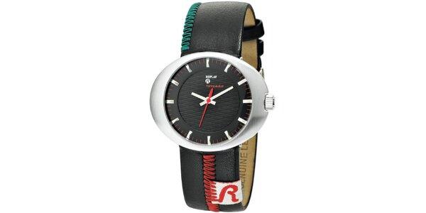 Pánské oválné hodinky Replay se zdobeným páskem