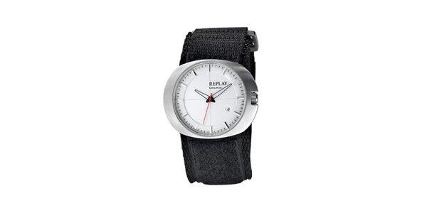 Pánské oválné hodinky Replay s červenou vteřinovkou
