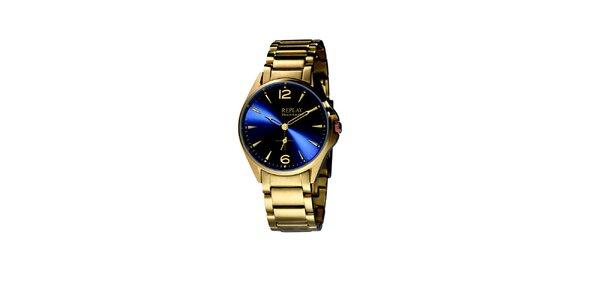 Pánské zlaté hodinky s modrým displejem Replay