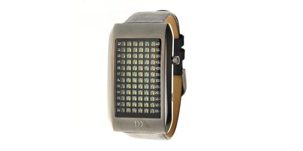 Černé ocelové hodinky Danish Design s černým koženým řemínkem