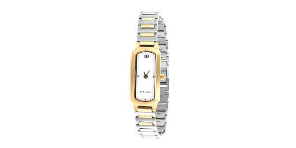Pozlacené analogové titanové hodinky Danish Design