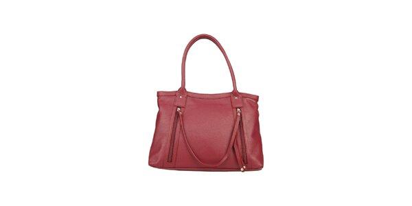 Dámská kožená bordó kabelka s ozdobným páskem Made in Italia
