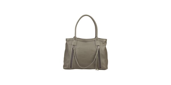 Dámská šedá kožená kabelka s ozdobným páskem Made in Italia