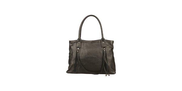 Dámská černá kožená kabelka s ozdobným páskem Made in Italia