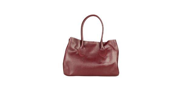 Dámská vínová kožená kabelka s ozdobným lemem Made in Italia