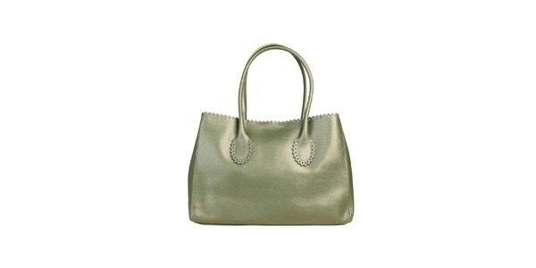 Dámská zelená kožená kabelka s ozdobným lemem Made in Italia