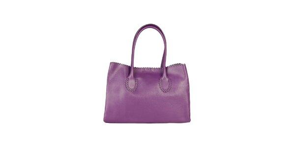 Dámská fialová kožená kabelka s ozdobným lemem Made in Italia