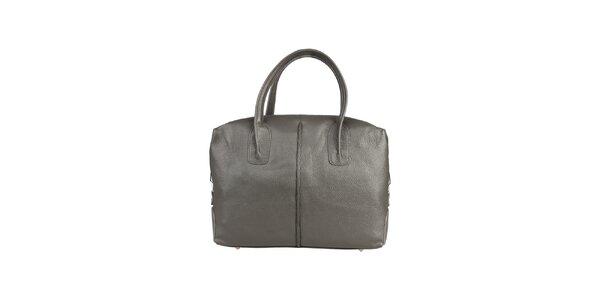Dámská šedá kožená kabelka s karabinkou Made in Italia
