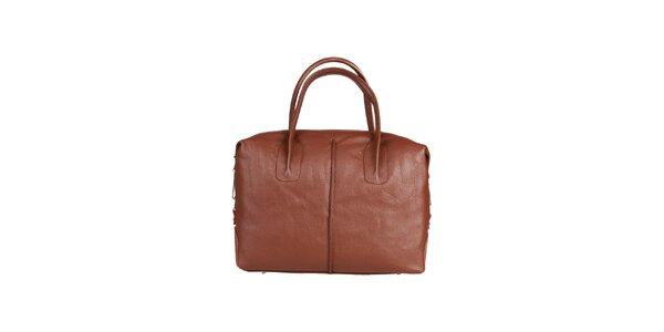 Dámská hnědá kožená kabelka s karabinkou Made in Italia