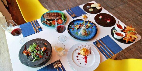 Vyladěné tříchodové menu s 800g steakem pro 2 osoby