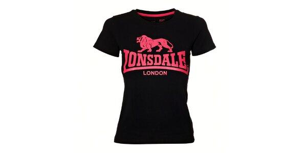 Dámské černé tričko Lonsdale s růžovým potiskem