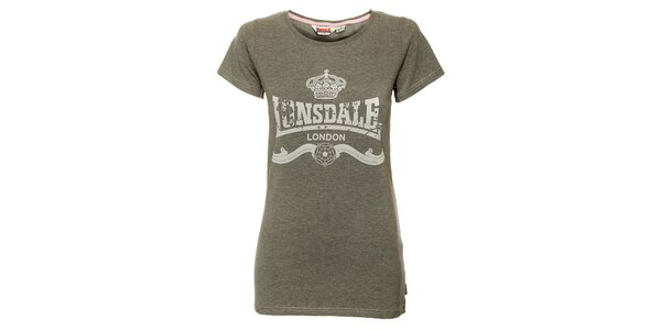 Dámské šedé tričko Lonsdale s bílým potiskem