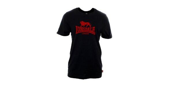 Pánské černé tričko s červeným potiskem Lonsdale