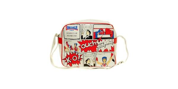 Pánská bílá taška s komiksovým potiskem Lonsdale