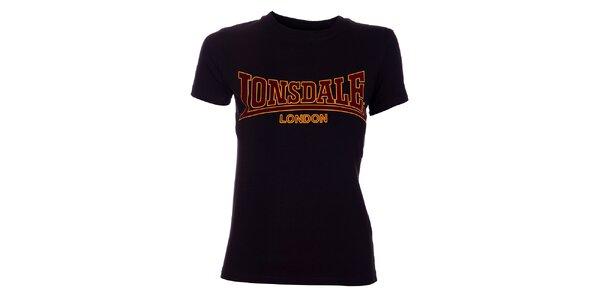 Dámské černé tričko Lonsdale se semišovým potiskem
