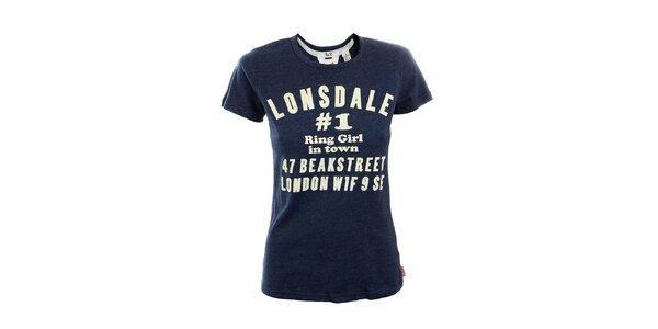 Dámské modře melírované tričko Lonsdale s potiskem