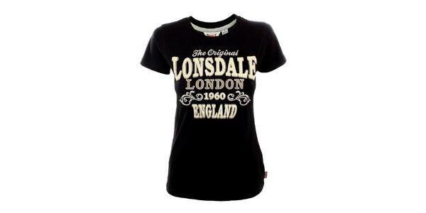 Dámské černé tričko s bílým potiskem Lonsdale
