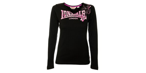 Dámské černé tričko s dlouhým rukávem Lonsdale s růžovým potiskem