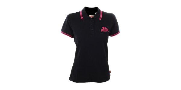 Dámské černé polo tričko s růžovými detaily Lonsdale