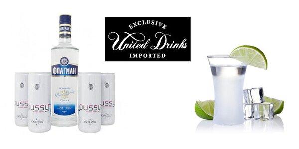 Balíček vodky Flagship a Pussy - 0,5 l prémiové ruské vodky Flagship a…