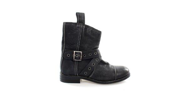 Dámské černé kožené kovbojské boty Levis
