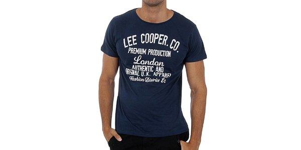 Pánské modré tričko s bílým potiskem Lee Cooper 8dfdaa3181b