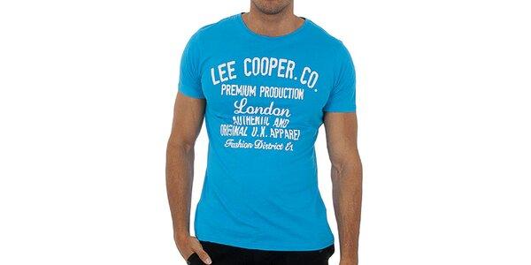 Pánské tyrkysové tričko s bílým potiskem Lee Cooper