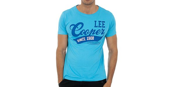 Pánské tyrkysově modré tričko Lee Cooper