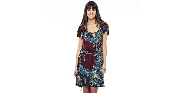 Dámské čokoládové šaty s modrým potiskem Peace&Love