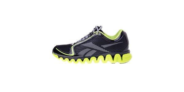 Pánské černé běžecké boty Reebok s technologií ZigTech a zelenými detaily