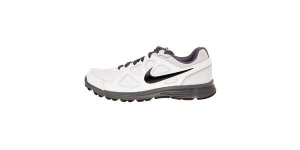 Pánské bílé běžecké boty Nike Revolution s šedivými detaily