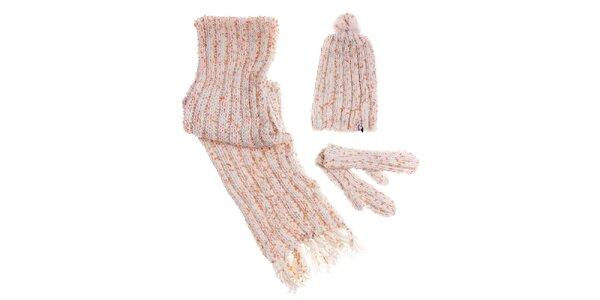 Dámský krémový zimní pletený set Fundango s barevným melírem