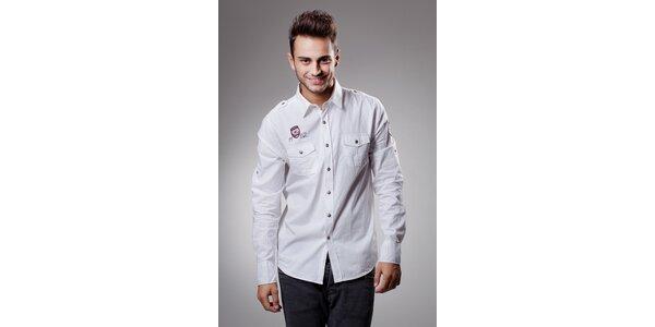 Pánská bílá bavlněná košile Celop s výšivkami