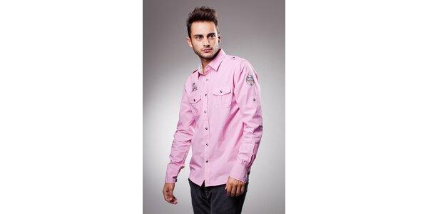 Pánská světle růžová bavlněná košile Celop s výšivkami