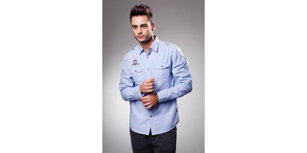 Pánská světle modrá bavlněná košile Celop s výšivkami