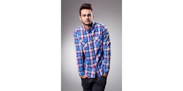 Pánská modro-červená kostkovaná košile Celop