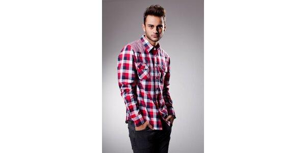 Pánská červeno-modrá kostkovaná košile Celop