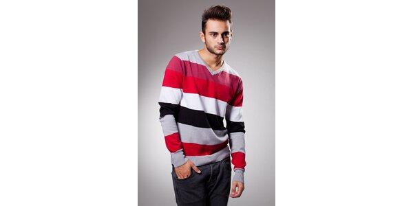 Pánský červeno-šedý proužkovaný svetr Celop