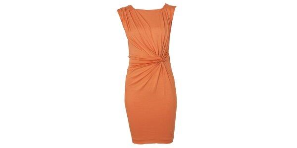 Dámské oranžové šaty s řasením CeMe London
