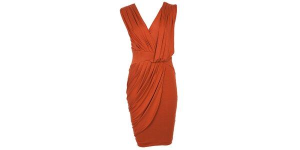Dámské cihlově oranžové šaty s drapérií CeMe London