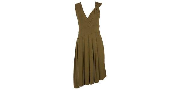 Dámské khaki šaty s bohatou splývavou sukní CeMe London