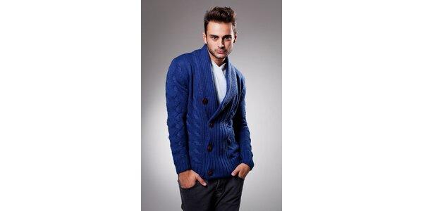 Pánský tmavě modrý svetr Celop s hnědými knoflíky