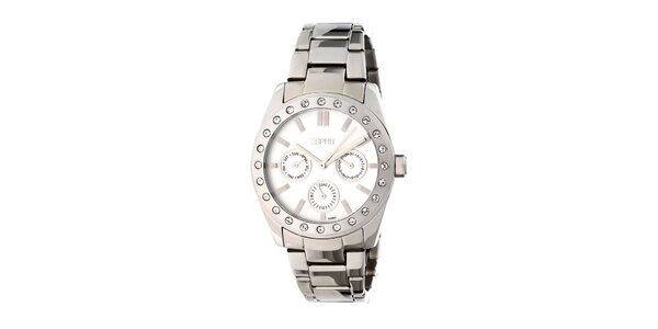 Dámské kulaté analogové hodinky Esprit s bílým ciferníkem