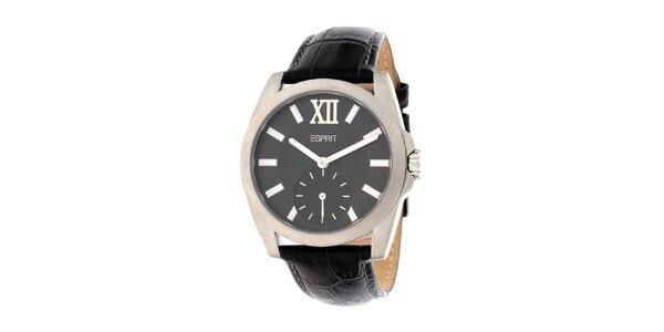 Dámské ocelové hodinky Esprit s černým koženým řemínkem