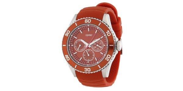 Dámské oranžové analogové hodinky s chronografem Esprit